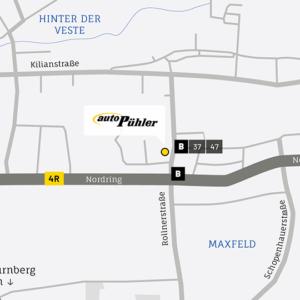 Anfahrtskarte, Adresse der Renault Auto Pühler GmbH Nürnberg